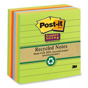 "Post-it Super Sticky Recycled Adhesive Notes Assorted - 6 / Pack 4"" Width x 4"" Length"