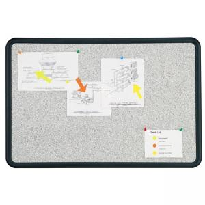 "Quartet Contour Contoured Granite Tackboard - 24"" x 36"" - Gray Foam Board"