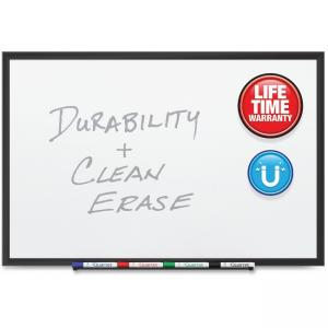 "Acco Quartet DuraMax Porcelain Whiteboard - 36"" Width x 24\"" Height - White Porcelain Surface - Black Aluminum Frame - Film - 1"