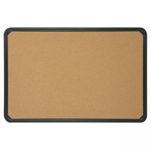 "Quartet Plastic Frame Bulletin Board - 18"" x 24"" - Black Cork"