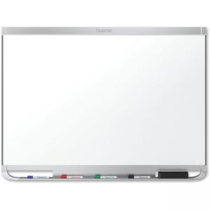 "Acco Quartet Prestige Plus Porcelain Marker Board - 48"" Width x 36\"" Height - White Porcelain Surface - Silver Aluminum Frame -"
