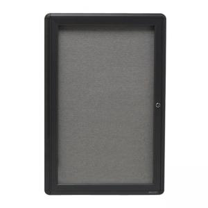 "Quartet Radius Frame Indoor Bulletin Board -24"" x 36"" - Graphite Gray Fabric"