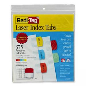 Redi-Tag Laser Index Tab - 375 / Pack - Red