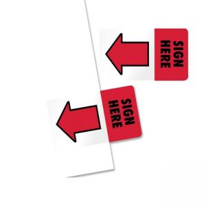 Redi-Tag Sign Here Adhesive Page Flags - 50 / Pack - Red