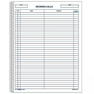 "Rediform Incoming/Outgoing Call Register Book - 11"" Length x 8.50"" Width White"