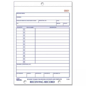 Rediform Receiving Record Slip Book