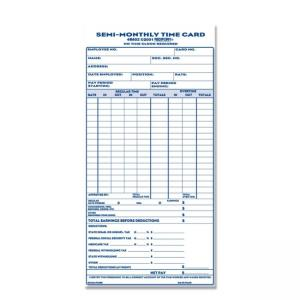 Rediform Semi-Monthly Time Cards - Blue Ink