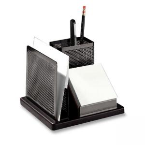 Rolodex Distinctions Wood Base Desk Organizer - 1 Each - Black