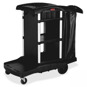 "Rubbermaid High Capacity Executive Cleaning Cart (RCP1861429) 8"", 4"" Caster - Aluminum, Plastic - 21.8"" x 49.8"" x 38"" - Black"