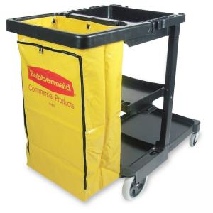 Rubbermaid Janitor Cart With Zipper Yellow Vinyl Bag - 1 Each