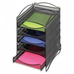 Safco 5 Drawer Mesh Desktop Organizer - Black - 1 Each
