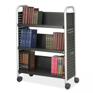 Safco Scoot Single Sided Book Cart - Black / Silver
