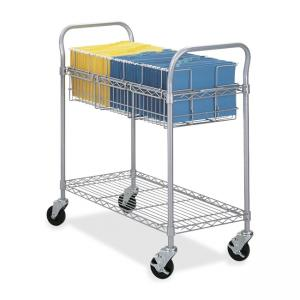 "Safco Wire Mail Cart - 39"" x 18.75"" x 38.5"" - Gray"