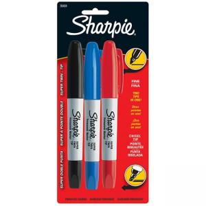 Sanford Sharpie Super Twin Permanent Marker- Chisel Marker Point Style - Assorted Ink - 3 / Set