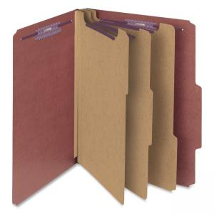 Smead Straight-Line Colored Classification Folder - 10 / Box - Red