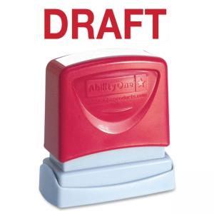 "Skilcraft Pre-Inked Message Stamp - DRAFT Message Stamp - 0.5"" x 1.75"" - Red"