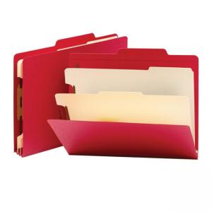 Smead Top Tab Colored Classification Folder - 10 / Box - Red