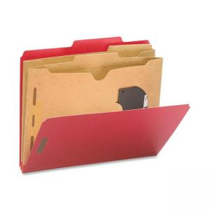 Smead Straight-Line Classification Folder with Pocket Divider - 10/ Box - Red