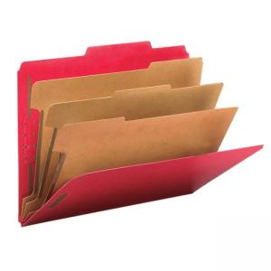 Smead Straight-Line Top Tab Classification Folder - 10 / Box - Bright Red