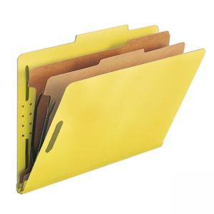 Smead Straight-Line Top Tab Classification Folder with Fasteners - 10 / Box - Yellow