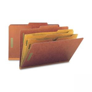 Smead Straight-Line Classification Folder with Pocket Divider - 10 / Box - Red