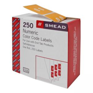 Smead DCC Color Coded Numeric Labels - Yellow - 250 / Roll