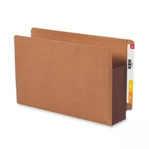 Smead TUFF Pocket End Tab File Pocket with Colored Gussets - Brown - 10 / Box