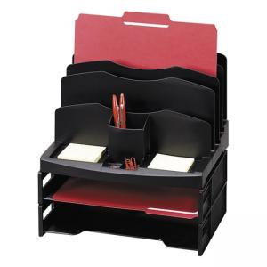 Sparco Smart Solutions Organizer with Two Letter Tray - Black - 1 Each