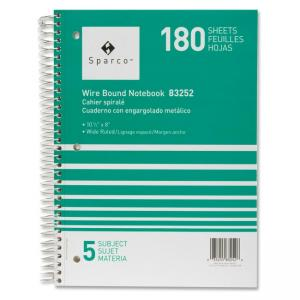 "Sparco Quality Wirebound 5-Subject Notebook - 8"" x 10.50"""