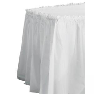 Tablemate Table Set Linen-Like Table Skirting - White