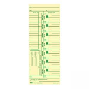 "Tops Weekly Time Card - 9"" x 3.5"" Sheet Size - Manila - 500 / Box"