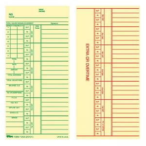 Tops Green Reg/Red Overtime Weekly Time Cards