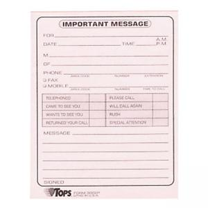 "Tops Important Message Note Pads - 4.25"" Length x 5.50"" Width"