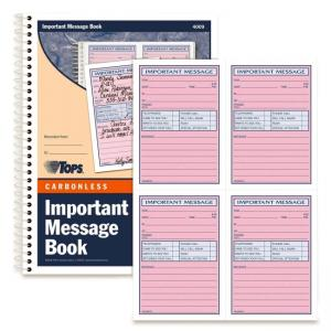 "Tops Important Phone Message Book - 11"" Length x 8.25"" Width"