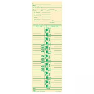 "Tops Payroll Calculation Time Card - 10.50"" Length x 3.50"" Width Manila"