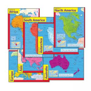 Trend Continents Learning Chart -6 / Pack - Multicolor