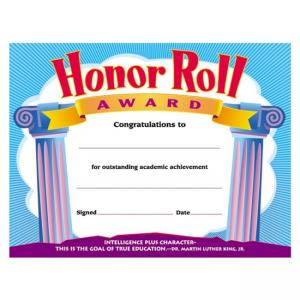 Trend Honor Roll Award Certificate