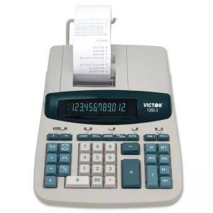 Victor 1260-3 Desktop Print/Display Calculator - 12-Digit Fluorescent - Two-Color Printing