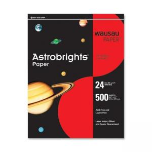 Wausau Paper Astrobrighs Colored Paper - 500 / Ream - Re-entry Red