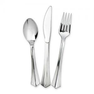 WNA Reflections Heavyweight Plastic Cutlery - 75 / Pack - Silver