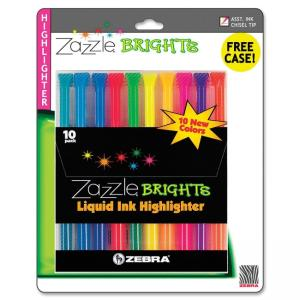 Zebra Pen Fluorescent Liquid Ink Highlighters - Assorted Colors - 10 / Set
