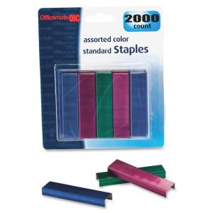 "OIC Assorted Colors Standard Staples - 105 Per Strip - 0.25"" Leg - 0.50"" Crown - Chisel Point - 2000/CD"