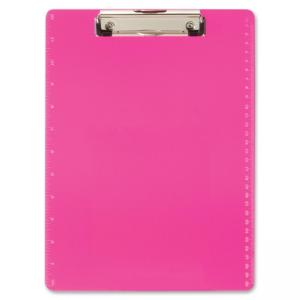 "OIC Low-profile Clip Letter-size Clipboard - 8.50"" x 11"" - Low-profile - Plastic - Neon Pink"