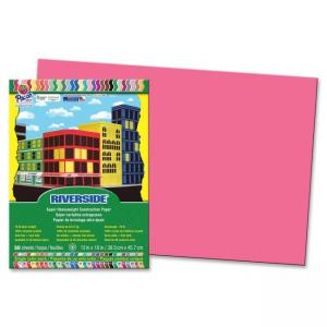 "Pacon Riverside Groundwood Construction Paper - 12"" x 18"" - Raspberry"