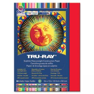"Pacon Tru-Ray Sulphite Construction Paper - 9"" x 12"" - Festive Red"