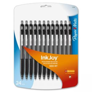 Rubbermaid Paper Mate Inkjoy 300 RT Ballpoint Pen - Medium Pen Point Type - 1 mm Pen Point Size - Black Ink - 24 / Pack