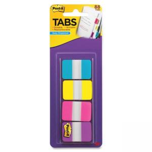 "Post-it 1"" Solid Color Self-stick Tabs - Write-on - 88 / Pack - Aqua, Yellow, Pink, Violet Tab"