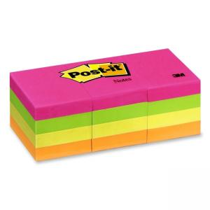 "Post-it Neon Plain Notes Neon Assorted 12 / Pack 1.50"" Width x 2"" Length"