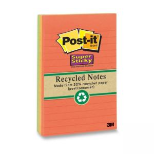 "Post-it Super Sticky Nature Colors Notes Assorted 4 / Pack 4"" Width x 6"" Length"