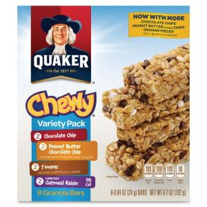 Quaker Oats Foods Chewy Granola Bar Variety Pack - Individually Wrapped - Assorted - 6.70 oz - 8 / Box